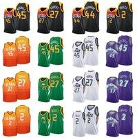 الرجال S-2XL كرة السلة الفانيلة 45donovan ميتشل 27 رودي جوبت 00 كلاركسون 44bojan bogdanovic 10mike conley أبيض أسود أزرق مدينة نسخة جيرسي