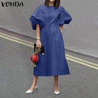 Casual Dresses S-5XL Women O Neck Dress 2021 VONDA Puff Sleeve Loose Solid Denim Party Evening Bohemian Vestidos