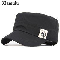 Kap Erkekler Askeri Bahar Sonbahar Beş Yıldız Şapka erkek Düz Üst Pamuk Ordu Siyah Beyzbol Şapka Geniş Ağız