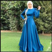 Charming Muslim Plus Size Blue Prom Dresses Long O Neck Long Sleeve Floor Length Appliques Formal Dress Evening Party Gowns robe de soiree de mariage