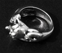 925 Artes de Prata e Artesanato Café Animal Gato Ajustável Anéis De Casamento Anéis Mulheres Jóias Presentes 2086 V2