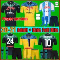 Männer + Kids Kit 20 21 Napoli Maradona Fussball Jersey Home 2122 Neapel Zielinski Insignente Merten Hamsik Callejon Rog Football Hemd Fans Spielerversion Uniformen