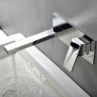 Matte Negro Cuadrado Cuarto de baño Montado en la pared Faucet Espejo de latón pulido Cromado Fregadero Grifo con grifo de caja incrustada