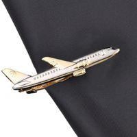 Elegante forma de avión piloto negocio corbatas clip de corbata de alta calidad gemelos corbatas broche trajes de boda regalo