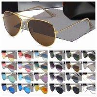 Óculos de sol de designer de luxo para homens mulheres espelho quadro de metal piloto sunglass clássico vintage óculos anti-uv ciclismo de condução 1 pcs moda óculos de sol com caso livre