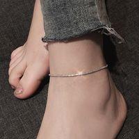 Tunna stämplade minimalistiska silverpläterade glänsande kedjor anklet för kvinnor tjejer vän fot smycken ben barfota armband tillbehör
