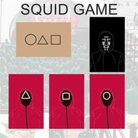 TV The Squid Game Business Card Invitation Thank You Greeting Cards 5PC Black Red Double Sides Print Triangle Square Circle Cosplay Props Party Games H1011RW9P