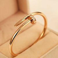 Nail Classic Bangle 316L золотой серебряный серебряный титановый сталь браслет свадьба инкрустация бриллиант женщин и мужчин любят ювелирные изделия подарок