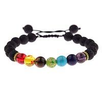 Hommes femmes 7 chakra perles macramé bracelets tressés lava roche pierre naturelle diffusion huile de diffuseur bracelet bracelet hommais