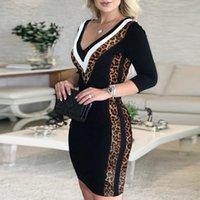 Платья осень зима старинные леопардовые блестки лоскутная вечеринка женщины элегантные V-образные вырезы тонкие ES женский повседневный офис Veatidos Jine 92KS