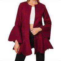 Women's Wool & Blends 2021 Autumn Winter Coats Fashion Round Collar Slim Shape Woolen Coat Ladies Solid Flare Sleeve Elegant Outwear O