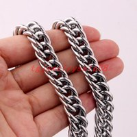"Trendy 12mm Polishing Silver Color Never Fade Stainless Steel Curb Cuban Link Chain Bracelet Or Necklace Men's Jewelry 7-40"" Chains"