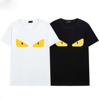 21ss 여름 패션 디자이너 티셔츠 남성 셔츠 작은 괴물 눈 럭셔리 편지 자수 여성의 흑백 짧은 소매