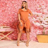 Women's Tracksuits Women Short Sleeve Side High Split Extra-long Tops And Skinny Shorts Outfits Plus Size Solid Two Piece Set Tracksuit