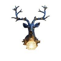 벽 램프 빈티지 주방 장식 LED 로프트 수지 사슴 다락방 통로 거실 침실 침실 sconce 빛 홈 허영심