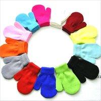 Зимние теплые варежки для детей вязаные перчатки мальчики девочки, схватывающие варегу студент царапина конфеты цвет варежки 1-4 года HWB11220