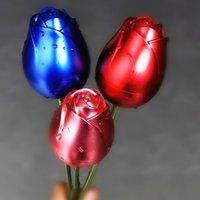 금속 장미 꽃 쥬얼리 상자 수 지 기본 선물 상자 포장 크리스마스 발렌타인 선물 홈 장식 장식품 ZZA6014