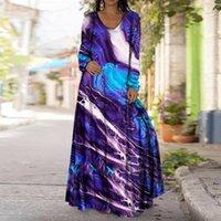 Casual Dresses 40# Plus Size Vintage Print Maxi Dress Women O-neck Long Sleeve Loose Elegant Holiday Ladies Vestidos