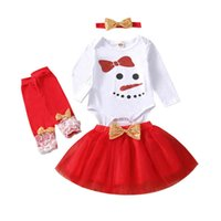 Christmas Girls Outfits Kids Clothing Sets Baby Clothes Children Suit Long-Sleeved Romper Jumpsuit Tutu Skirt Leg Warmers Headbands 4Pcs B8479