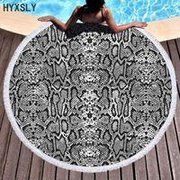 Havlu 150 cm Yuvarlak Plaj Bohemian 3D Izgara Geometrik Leopar Goblen Mikrofiber Yoga Mat Battaniye Duş Banyo Havlu Kapak