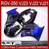 Suzuki RGVT Blue Flames BLK RGV 250 CC RGV250 SAPC VJ23 COWLING RGV-250CC RVG250 250CC 97 98 Bodywork 107HC.178 RGVT-250 VJ 23 RGV-250 패널 1997 1998