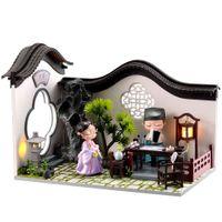 CuteBee diy دمية خشبية دمية المنازل مصغرة دمية البيت أثاث كيت كازا الموسيقى الصمام اللعب للأطفال هدية عيد Y0329