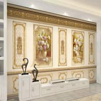 Custom European Luxury Garden Flower Gold 3D Wall Cloth Living Room Sofa TV Background Decorative Mural Wallpaper Painting Wallpapers