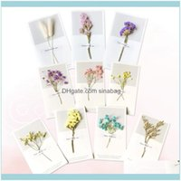 Cards Event Festive Party Supplies Home & Garden10Pcs Creative Dried Flowers Greeting For Thanksgiving Birthday Valentines Day Christmas Hol