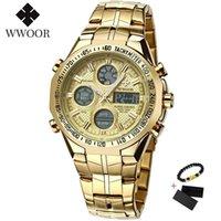 Наручные часы WWOOR Цифровые Светодиодные Электронные Часы Мужчины Роскошный Большой Циферблат Спортивный Золотой Водонепроницаемый Полный Стальной Кварцевые Военные Мужские Часы 2021