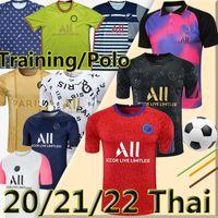 psg Nuevo 21/22 Camisetas de Fútbol soccer jerseys MBAPPE Kean Icardi di Maria Neymar #10 NAVAS HERRERA SARABIA 2021 Transpare Polo Pre-Shirt Football Jesey Camiseta de Fútbol