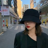 Eimer Hut Womens Sommer dünn schwarze Sonnenschutz Hut koreanischer Stil vielseitiger japanischer Eimer Hut Trendy Gesichtsbedeckung und sonnenschattierender Bucke