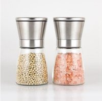 Stainless Steel Manual Salt Pepper Mill Grinder Seasoning Bottle Glass Kitchen Accessaries Tool Premium