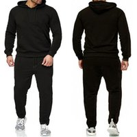 mens designer hoodie track suit European sports suit and casual sweater + sports pants two-piece casual loose fitness pulloverKJJ9
