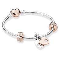Bracelet de liaison de mode BRACELE CO European Cœur Pendentif en forme de cœur Fit Bijoux Femmes Snake Rose Gold Metal Bracelets fins