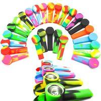 금속 그릇이있는 실리콘 파이프 크리 에이 티브 실리콘 담배 흡연 담배 파이프 물 담뱃대 솜 믹스 색상 숟가락 파이프 도구 봉 FY2503