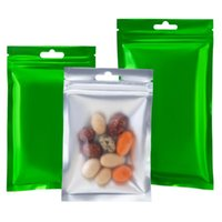 Storage Bags 100Pcs Green Aluminum Foil Clear Bag With Hang Hole Tear Notch Reusable Food Coffee Tea Candy Packaging Pouches