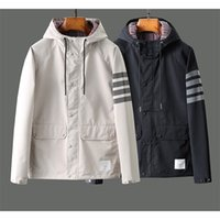 Fashion TB Brand Jacket Men Cardigans Clothing Spring Autumn Hooded Reflective Stripe Waterproof Casual Coat With Nood 210811