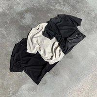 Качество Твердое представляют футболку Мужчины Женщины Пустые Высокая улица Тройник Внутренний Тег Этикетки Топы с коротким рукавом Мужские футболки