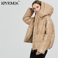 Kpytomoa Women Fashion Fat Hot Faux Leather Coated Jas Vintage Long Mouwen Oversized Parka Women's Upwear Chic Tops