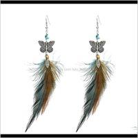 Idealway Mode Schmetterling Form Feder Tropfen Ohrringe Für Frauen Boho Hochzeits-Party Schmuck Svhyq Baumeln Kronleuchter W8ZJM