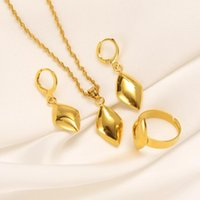 Earrings & Necklace Bangrui 2021 Exquisite Gold Color Smooth Rhombus Pendant Drop Rings Fashion Jewelry Sets African Gifts