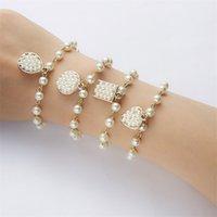Simple Love Geometric Pendant Imitation Pearl Bracelet Strands A Variety of Temperament Women's Jewelry Wholesale 1190 B3