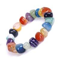 Natural Agate Stone Bracelets Bangles Fashion Men Beaded Strands Irregular Shape Gravel Women Colorful Beads Elastic Bracelet BWA5704