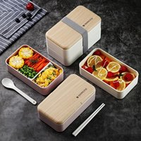 Dinnerware Sets Microwave Double Layer Lunch Box 1200ml Wooden Feeling Salad Bento BPA Free Portable Container Workers Student