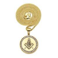 Hip Hop Jewelry Placcato oro Freemason AG Pendente con strass con catena in acciaio inox collana pendente collana accessori gioielli moda regalo