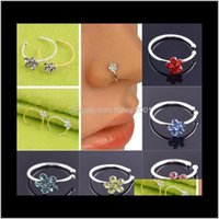 12 Renk Moda Kristal Rhinestone Erik Çiçeği Çiçek Burun Hoop Burun Yüzük Saplama Sahte Piercing Vücut Takı E4exo O4CQE