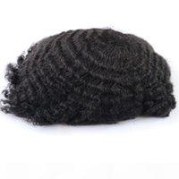 Schneller Versand Afro Curl Toupee für Schwarze Männer Günstige Toupee Remy Hair Piece Full Pu Toupee für Schwarze Männer