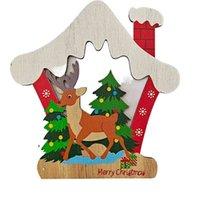 2021 Natale in legno Pandagramma Pentagramma Casa Auto Forma Xmas Decorazione albero Snowman Elk Stampato Cartoon Cartoon Carino Artigianato Ornamenti Forniture G71R9UQ