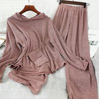 Two Piece Dress Casual Women Streetwear Long Pant Set 2021 Spring Solid Hooded Pullover+high Waist Wide Leg With Bag 3