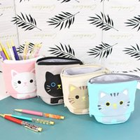Storage Bags Pen Pencil Bag Case Stationery Cartoon Cute Cat Bear Sheep Canvas Fold Standing Holder Organizer Kids Gift Package